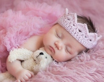 Crochet Princess Crown, Photo Prop, Pink, Infant, Baby, Newborn, Princess