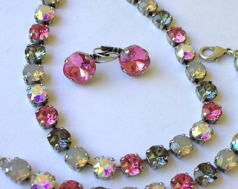 8mm Necklace made with Swarovski Crystals Cushion Cut and 8mm