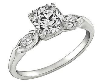 Vintage GIA Certified 1.01ct Diamond Engagement Ring