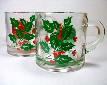 Vintage Holiday Drinking Cups - Christmas Eggnog Cups - Christmas Holly Coffee Cups (Set of 2)