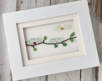 Family of Birds Seaglass Picture