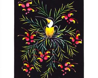 Nectar - Grevillia Lino Cut Print