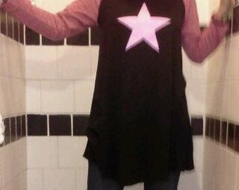 Soul Sistah Super Star Dress... Black baseball jersey mini dress with rosy pink sleeves and pink star on front.