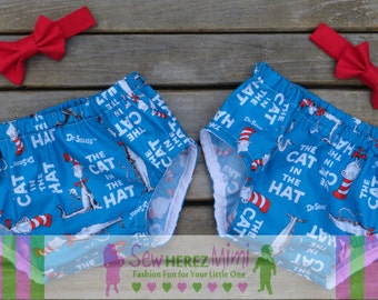 TWINS Cat in the Hat Dr Seuss 1st Birthday Diaper Cover Bow Tie Cake Smash 4 pc Set