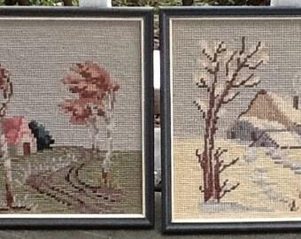 Vintage Pair of Framed Wool Needlework Farm House