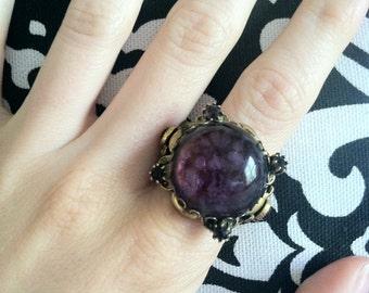 Vintage Gold & Purple Statement Ring