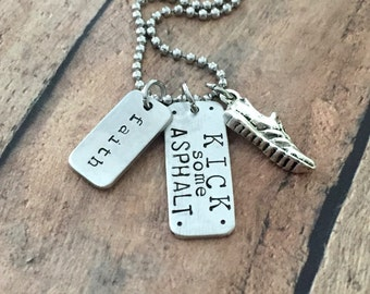 Running Necklace-KICK SOME ASPHALT and Faith Runners Jewelry