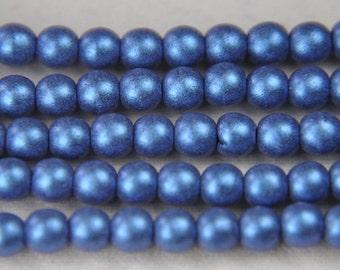 Druk Czech pressed glass round 4mm beads metallic suede blue 100 pieces