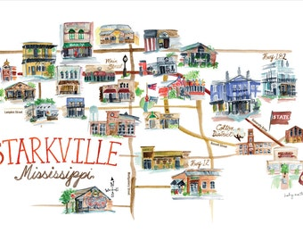 """Starkville Mississippi Culinary Map -- 11 x 17"""" print"""