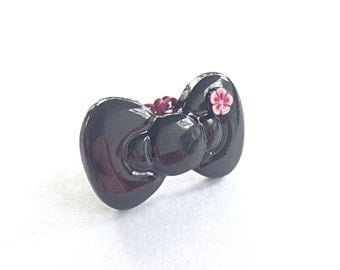 Black bow ring, flower ring