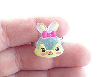Grey kawaii bunny ring, animal ring