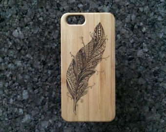 Feather iPhone 7 Plus Case. Feather Symbol for Truth Speed Air Wind Flight Ascension Spirit. Bamboo Wood Cover. iMakeTheCase Brand