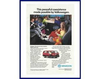 "VOLKSWAGEN VANAGON Original 1990 Vintage Color Print Ad - VW Minivan ""This Peaceful Coexistence Made Possible By Volkswagen."""