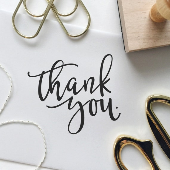 Modern calligraphy thank you stamp