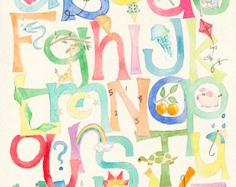 NEW SIZE!! 11x14 ABC Alphabet Nursery Watercolor Art Print