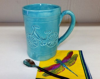 Extra Large Bike Mug, Aqua Bicycle Coffee Mug