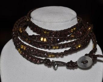 SALE! 5 Wrap Bracelet Purple Gold Charm #503