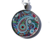 Paisley necklace, abstract colorful pattern, paisley design, hippie style jewelry, indian jewelry, blue ring, gift for her