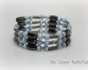 Blue Glass Cats Eye Beads - Magnetic Hematite & Antique Silver Bead Wrap Bracelet - FITS ALL WRISTS - 6160021
