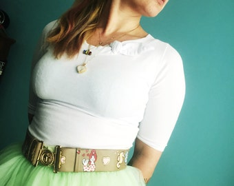 vintage taupe leather belt hand painted under the sea