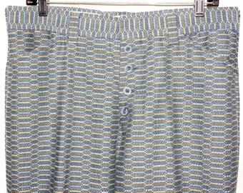 1970s Mens Button Fly Bellbottom Pants 35x30 Hippie Retro Vintage