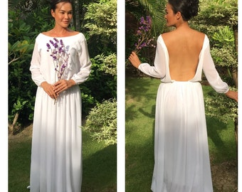 Wedding white dress chiffon long sleeve open back long maxi dress All size