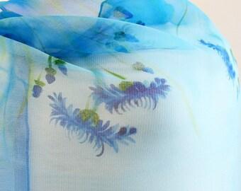 Silk scarf- Cornflowers scarf- Blue Silk Scarf- handpainted silk scarf- Batik scarf- Womens scarf- Neck scarf- Painted scarf- Blue scarf