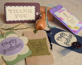 Set of handmade gift tags- assorted, thank you, happy birthday (set of 5)