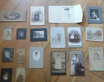 Lot of 18 CDV's and Cabinet Photos 1800's Portraits Children, Families etc.