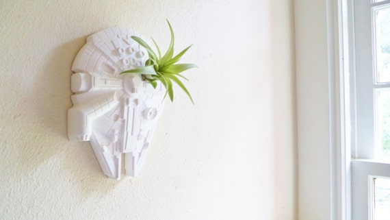 Millennium Falcon wall planter, space ship air plant holder, vertical planter
