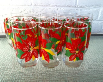 Holiday Glasses with Poinsettias