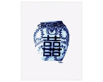 Blue Ginger Jar Watercolor Art Print