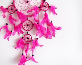 Free Standart Shipping/Fuchsia Dream Catcher-2 size Optional/Five Circles-One Oversize and Four Little Circle/Indian Symbols-4 size Optional