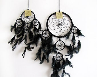 Free Fast Shipping/Native American Legend/All Black  Dream Catcher /Five Circles-One Oversize and Four Little Circle/Indian Symbols -2 size
