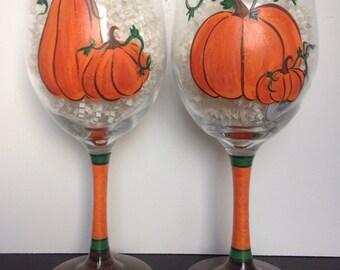 Pumpkin Fall Halloween Orange Harvest Glassware