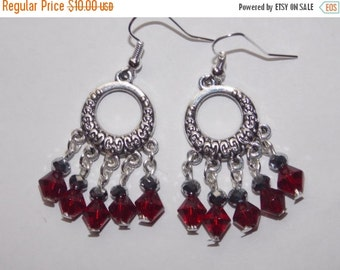 RESERVED for RENEE - 25%OFF Red and Silver Crystal Open Hoop Chandelier Earrings