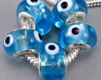 Blue Evil Eye Murano Lampwork European Beads - 10 beads