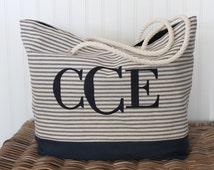 Personalized Beach Bag - Monogragrammed Tote Bag - Bridesmaid Gift  - Teacher Bag - Ticking Bag - Market Bag