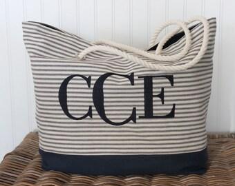 Personalized Tote Bag - Monogragrammed Tote Bag - Bridesmaid Bag  - Teacher Bag - Ticking Tote Bag - Beach Bag