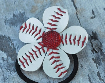 Red and White Baseball Ponytail Holder with a Red Sparkly Button Center