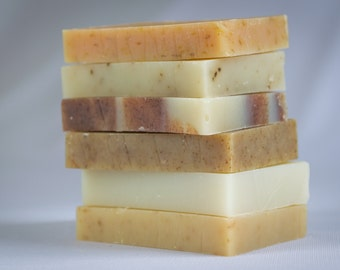 6 - 1/2 Bar Soap Sampler - All Natural Vegetable  Herbal Soaps, Handmade Soap,Cold Process Soap