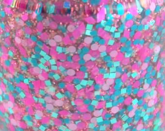 Teal Me Why Teal Fuchsia Pink glitter Nail Polish 5 free nail polish indie nail polish vegan cruelty free