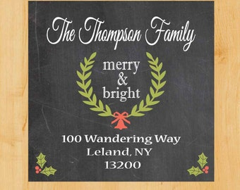 Holiday Labels | Holiday Square Labels | Christmas Address Label | Square Address Label | Chalkboard Label | Blackboard Label