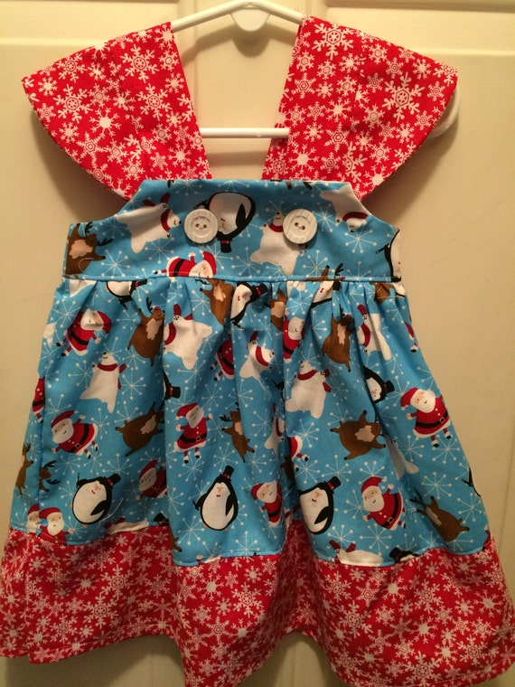 Christmas holiday dress size 12 18 month ready to ship penguin