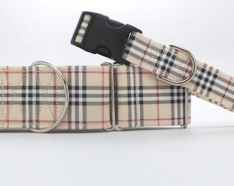 Sandy Shore Tartan Dog Collar (Martingale, Buckle or Tag)