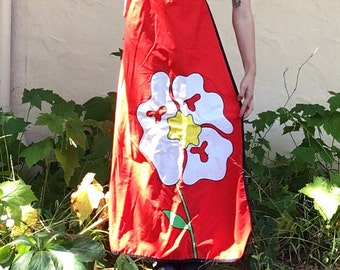 60s Red Wrap Maxi Skirt with Daisy Applique