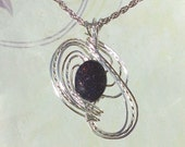 Blue Goldstone Womans Pendant Necklace Wire Wrapped Jewelry Handmade in Silver with FREE SHIPPING