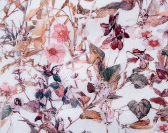 "Liberty of London Fabric Scrap ""Wild Flowers""  in Corals and Mauve Cotton Tana Lawn 10 x 26"""