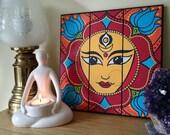 Durga Mandala - Hand painted original design on a wooden plaque.