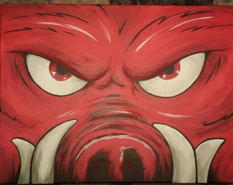 """Official Arkansas Razorback painting """"lil Tusk"""" on stretched canvas"""